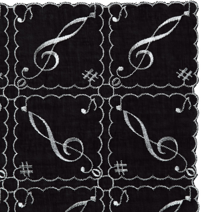 オーバーレース ハンカチーフ(全2種) ト音記号/ブラック