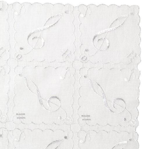 オーバーレース ハンカチーフ(全2種) ト音記号/ホワイト