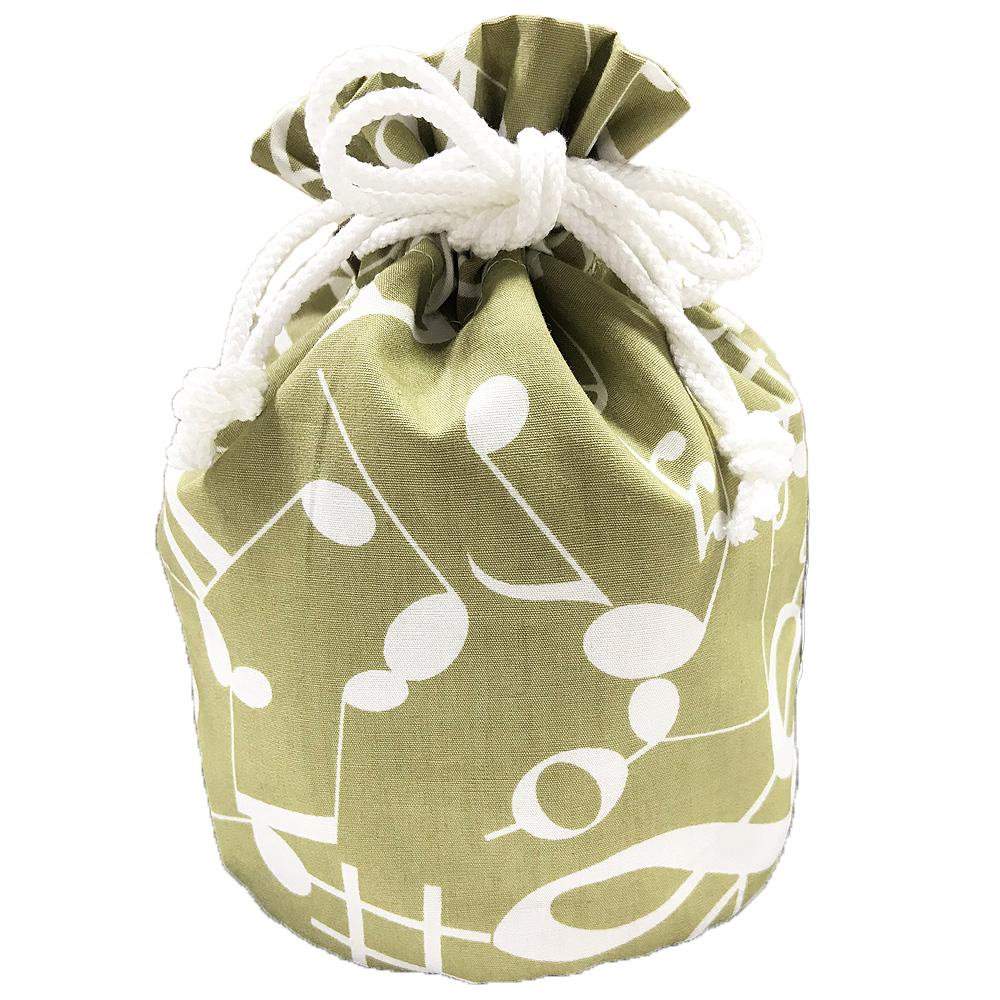 音楽包 巾着袋(全3種) 音符/カーキ