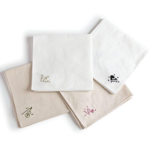 エンブロイダリー(刺繍)ハンカチ(全4種)